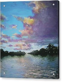 Acrylic Print featuring the painting A Mauve Day by Marie-Line Vasseur