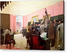 A Meeting Of The Judges Of The Salon Des Artistes Francais Acrylic Print by Henri Gervex