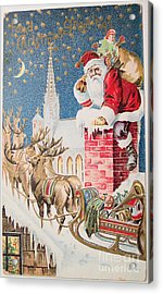 A Merry Christmas Vintage Greetings From Santa Claus And His Raindeer Acrylic Print by R Muirhead Art