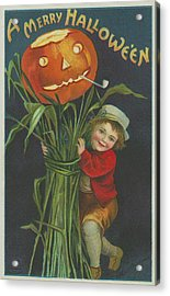A Merry Halloween Acrylic Print by Ellen Hattie Clapsaddle