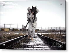 A Military Dog Handler Uses An Acrylic Print by Stocktrek Images