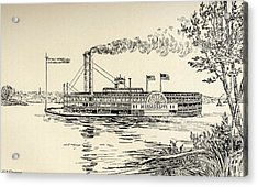 A Mississippi Steamer Off St. Louis Acrylic Print by Vintage Design Pics