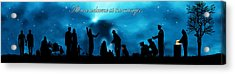 A Modern Nativity Scene.   All Are Welcome At The Manger. Acrylic Print by Julie Rodriguez Jones