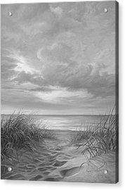 A Moment Of Tranquility - Black And White Acrylic Print by Lucie Bilodeau