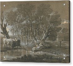 A Moonlit Landscape With Cattle By A Pool Acrylic Print by Thomas Gainsborough