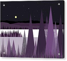 A Moonlit Winter Night II Acrylic Print by Val Arie