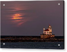 Acrylic Print featuring the photograph A Moonsetting Sunrise by Everet Regal