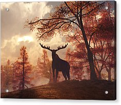 Acrylic Print featuring the digital art A Moose In Fall by Daniel Eskridge