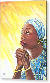 A Mothers Prayer Acrylic Print by Emmanuel Baliyanga