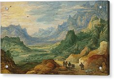 A Mountainous Landscape With Travellers And Herdsmen On A Path Acrylic Print by Jan Brueghel and Joos de Momper