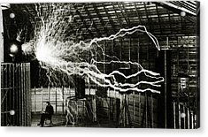 A Multiple Exposure Picture Of Tesla With His Magnifying Transmitter Acrylic Print by American School