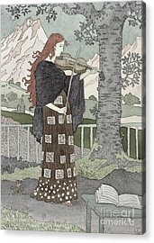 A Musician Acrylic Print by Eugene Grasset