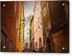 A Narrow Street In Salzburg  Acrylic Print by Carol Japp