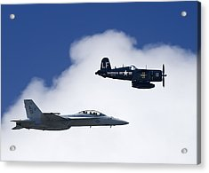 A Navy F-18 And A Wwii Vintage F4u Acrylic Print by Medford Taylor