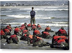 A Navy Seal Instructor Assists Students Acrylic Print by Stocktrek Images