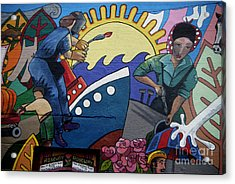 A Neigborhood In Motion Mural  Rosie The Riviter And Wendy The Welder Acrylic Print by Angelina Marino
