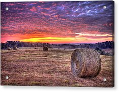 Acrylic Print featuring the photograph Before A New Day Georgia Hayfield Sunrise Art by Reid Callaway