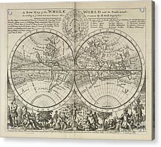 A New Map Of The Whole World With Trade Winds Herman Moll 1732 Acrylic Print