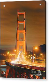 A Night View Of The Golden Gate Bridge From Vista Point In Marin County - Sausalito California Acrylic Print by Silvio Ligutti