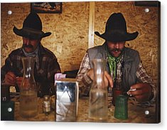 A Pair Of Cowboys Enjoy A Cup Of Coffee Acrylic Print by Joel Sartore