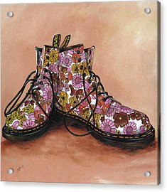 A Pair Of Floral Dr Martens Acrylic Print by Richard Mountford