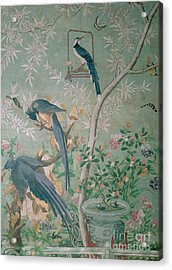 A Pair Of Magpie Jays  Vintage Wallpaper Acrylic Print