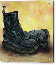 A Pair Of Patent Dr Martens 2 Acrylic Print by Richard Mountford