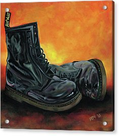A Pair Of Patent Dr Martens Acrylic Print by Richard Mountford