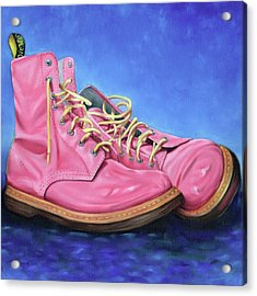A Pair Of Pink Dr Martens Acrylic Print by Richard Mountford