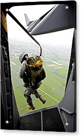 A Paratrooper Executes An Airborne Jump Acrylic Print