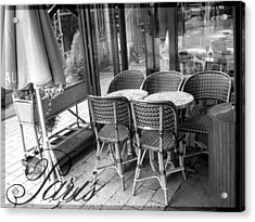 A Parisian Sidewalk Cafe In Black And White Acrylic Print by Jennifer Holcombe