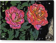 A Parrot And A Tiger Or Two Roses Acrylic Print