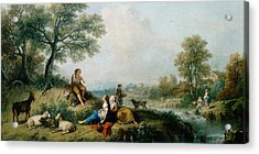 A Pastoral Scene With Goatherds Acrylic Print by Francesco Zuccarelli