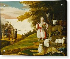 A Peaceable Kingdom With Quakers Bearing Banners Acrylic Print by Celestial Images