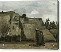 A Peasant Woman Digging In Front Of Her Cottage Acrylic Print by Vincent Van Gogh