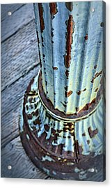 A Peeling Post In Blue Acrylic Print by Caitlyn  Grasso