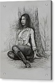 Acrylic Print featuring the drawing A Pensive Mood by Harvie Brown
