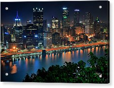 A Photographic Pittsburgh Night Acrylic Print by Frozen in Time Fine Art Photography