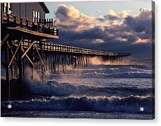 A Pier At Nags Head Is Pounded By Early Acrylic Print by David Alan Harvey