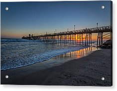 A Piers To Be Last Light Acrylic Print by Peter Tellone