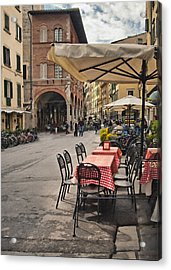 A Pisa Cafe Acrylic Print by Sharon Foster