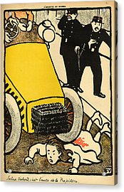A Police Car Runs Over A Little Girl Acrylic Print by Felix Edouard Vallotton