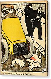 A Police Car Runs Over A Little Girl Acrylic Print by Felix Edouard Vallotton