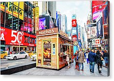 A Portable Food Stand In New York Times Square Acrylic Print