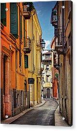 A Pretty Little Street In Verona Italy  Acrylic Print by Carol Japp