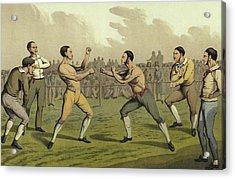 A Prize Fight Acrylic Print by Henry Thomas Alken