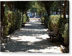 A Promenade In Rehavia Acrylic Print by Susan Heller