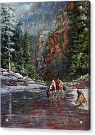 Acrylic Print featuring the painting A Prospector's Pan by Harvie Brown