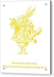 A Punctual Rabbit Acrylic Print by Georgia Fowler