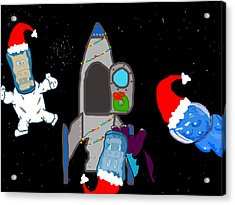 A Puppydragon Christmas In Space Acrylic Print by Jera Sky